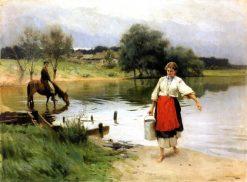 On the River | Nikolai Pimonenko | Oil Painting
