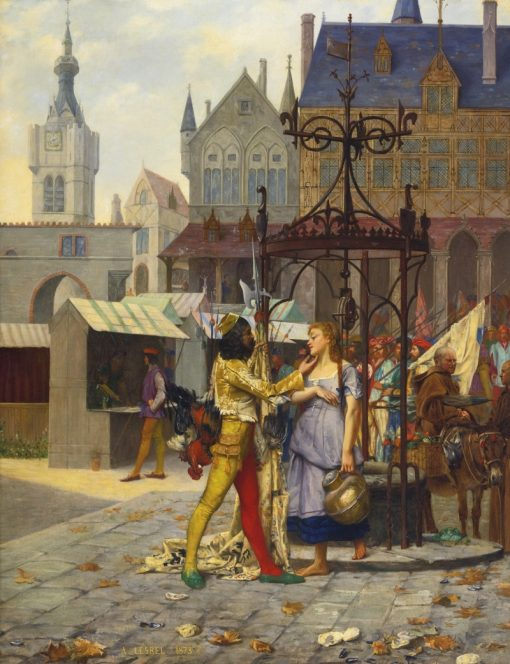 Flirtation in the Town Square | Adolphe Alexander Lesrel | Oil Painting