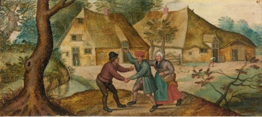 Peasants Greeting One Another   Pieter Brueghel the Younger   Oil Painting