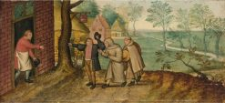 Two Monks in Front of an Inn | Pieter Brueghel the Younger | Oil Painting