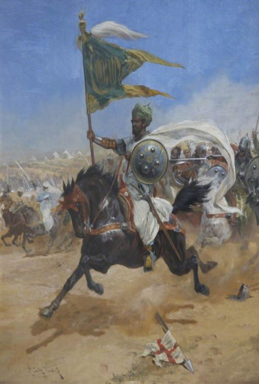 Saladins Cavalry Charging the Crusaders | Richard Caton Woodville the Younger | Oil Painting