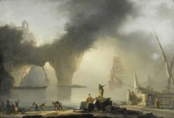 View of a Port with Fishermen | Claude-Joseph Vernet | Oil Painting