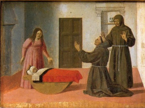 Polyptych of St Anthony - St Anthony Resurrects a Child   Piero della Francesca   Oil Painting