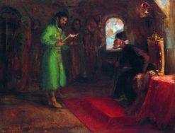 Boris Godunov and Ivan the Terrible   Ilia Efimovich Repin   Oil Painting
