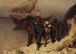 Barge Haulers on the Volga   Ilia Efimovich Repin   Oil Painting