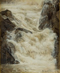 A study of a waterfall in Sweden | Janus La Cour | Oil Painting