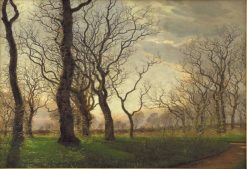 The edge of an oak forest on an early spring morning | Janus La Cour | Oil Painting