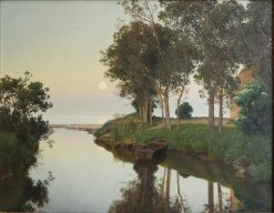 Quiet Summer Evening by the River Mouth | Janus La Cour | Oil Painting
