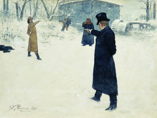 The Duel of Onegin and Lensky | Ilia Efimovich Repin | Oil Painting