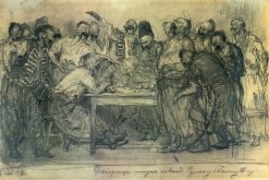 The Reply of the Zaporozhian Cossacks to Turkish Sultan Mahmoud IV (sketch) | Ilia Efimovich Repin | Oil Painting