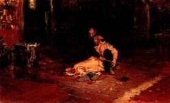 Ivan the Terrible and His Son Ivan (study)   Ilia Efimovich Repin   Oil Painting