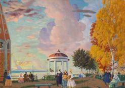 Public Garden on the Volga Bank | Boris Mikhailovich Kustodiev | Oil Painting