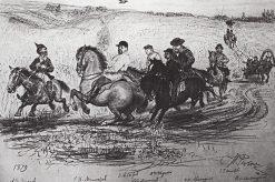 Riders in Abramtsevo | Ilia Efimovich Repin | Oil Painting