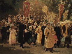 Religious Procession in the Oak Grove | Ilia Efimovich Repin | Oil Painting
