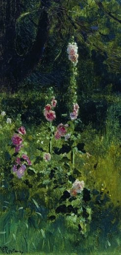 Hollyhocks | Ilia Efimovich Repin | Oil Painting