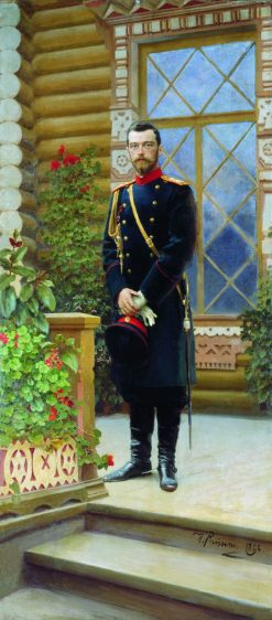 Emperor Nicholas II on the Porch | Ilia Efimovich Repin | Oil Painting