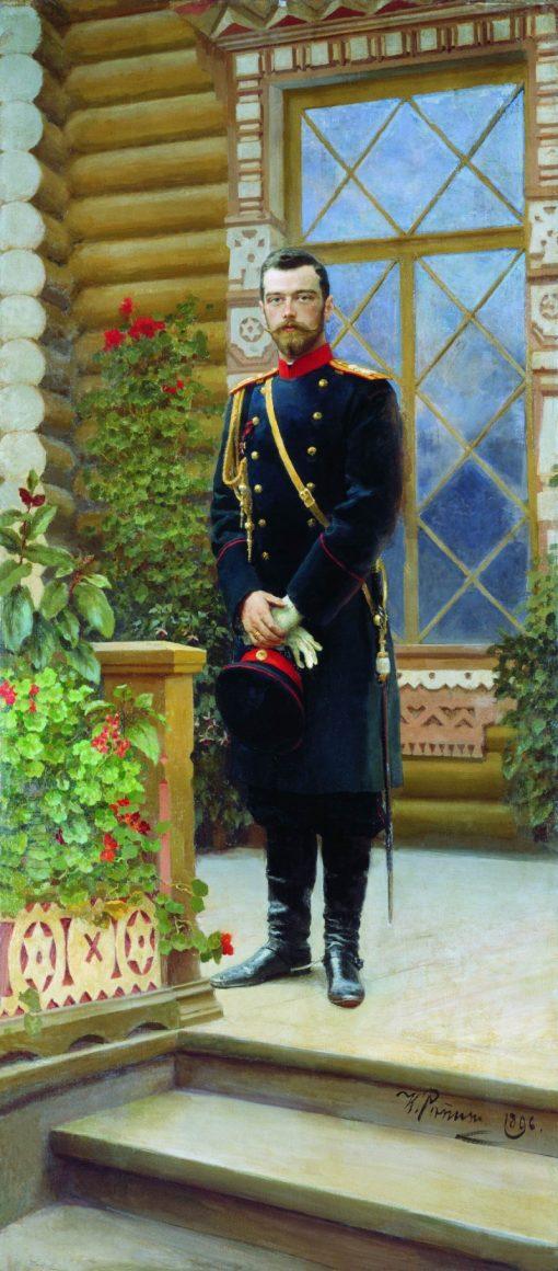 Emperor Nicholas II on the Porch | Ilia Efimovich Repin | Oil Painting