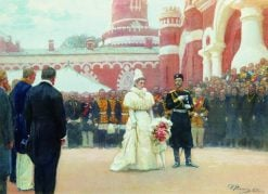 Emperor Nicholas II receiving rural district elders in the yard of Petrovsky Palace in Moscow | Ilia Efimovich Repin | Oil Painting