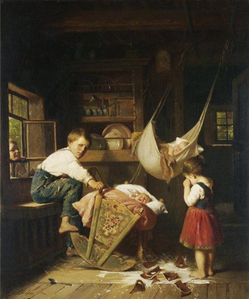 Crying over spilt milk | August Heyn | Oil Painting