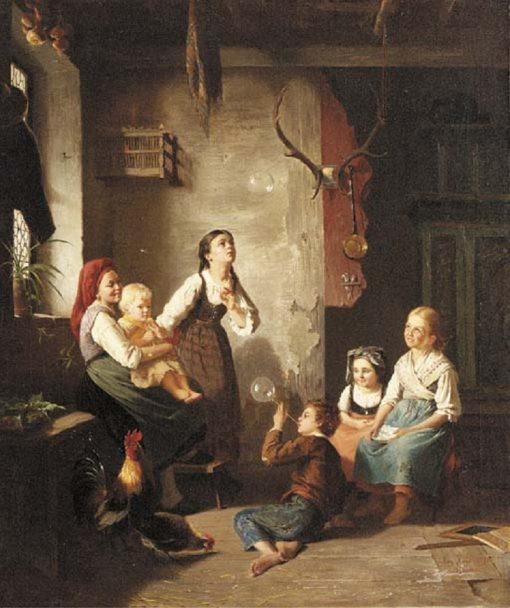 Blowing Bubbles | August Heyn | Oil Painting