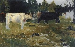 Cows on a Pasture (study) | Ilia Efimovich Repin | Oil Painting