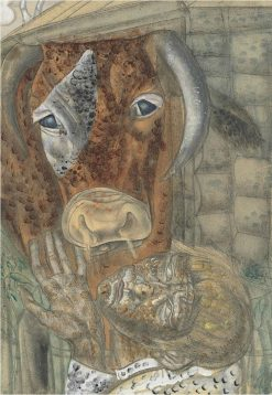 Peasant boy and a cow | Boris Grigoriev | Oil Painting