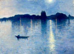 Le Lac au Clair de Lune | Jean Delville | Oil Painting