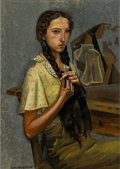 Portrait Of A Girl At The Mirror | Boris Grigoriev | Oil Painting