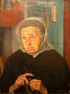 Old Woman Knitting | Boris Grigoriev | Oil Painting
