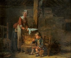 Interior with a washerwoman and her boy | Martin Drölling | Oil Painting