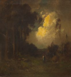 Evening scene with a figure in a clearing | Alexis Matthew Podchernikoff | Oil Painting