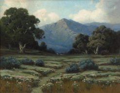 Oak trees and lupine in a California landscape | Alexis Matthew Podchernikoff | Oil Painting