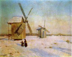 Winter Landscape with Windmills | Konstantin Kryzhitsky | Oil Painting