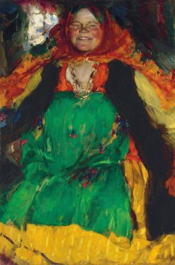Peasant Woman in Green Dress | Abram Efimovich Arkhipov | Oil Painting