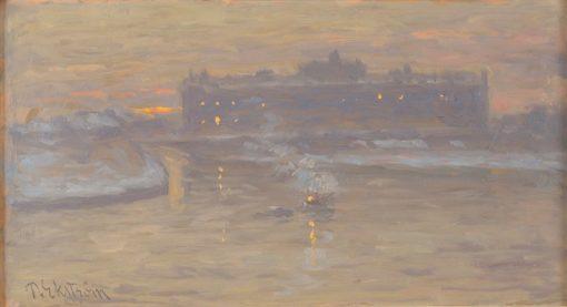 Winter Night by the Stockholm Ström | Per Ekström | Oil Painting