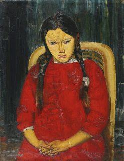 Girl in Red | Boris Grigoriev | Oil Painting