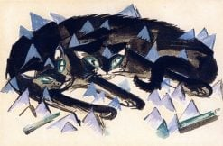 Two Black Cats | Franz Marc | Oil Painting