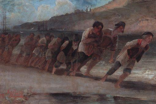 Barge Haulers   Alexei Kondratyevich Savrasov   Oil Painting