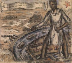 "A Poster Design ""Long Live Tenacious Productive Labour"" | Vladimir Grinberg | Oil Painting"