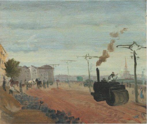 Asphalting the Embankment   Vladimir Grinberg   Oil Painting