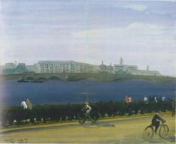 Cyclists on the Neva | Vladimir Grinberg | Oil Painting