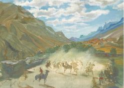 Polo Game at Misgar | Alexander Evgenievich Yakovlev | Oil Painting