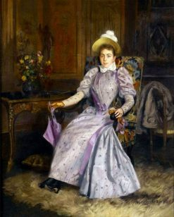 Woman in a mauve dress | Basile Lemeunier | Oil Painting