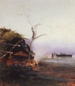 Bonfire by the River | Alexei Kondratyevich Savrasov | Oil Painting