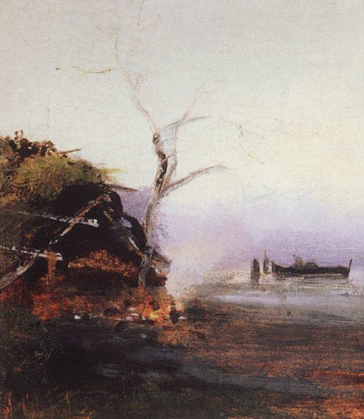 Bonfire by the River | Alexei Kondratyevich Savrasov | Oil Painting
