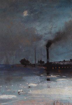 Landscape with a Factory   Alexei Kondratyevich Savrasov   Oil Painting