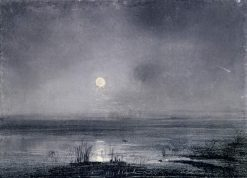 A Moonlit Night on the River | Alexei Kondratyevich Savrasov | Oil Painting