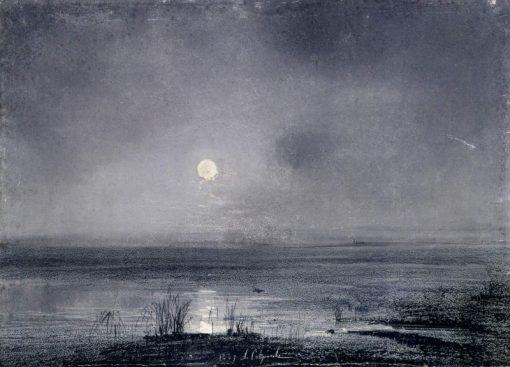 A Moonlit Night on the River | Alexei Kondratyevich Savrasov | Oil Painting
