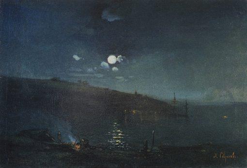 A Moonlit Night | Alexei Kondratyevich Savrasov | Oil Painting