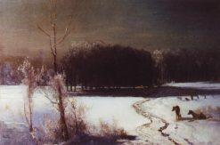 Landscape with Wolves   Alexei Kondratyevich Savrasov   Oil Painting